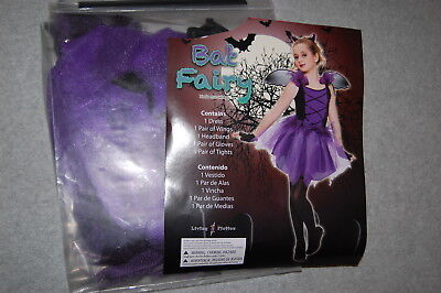 Bat Fairy Costume (Girls Halloween Costume BAT FAIRY Entire Outfit BLACK PURPLE Dress Wings M)