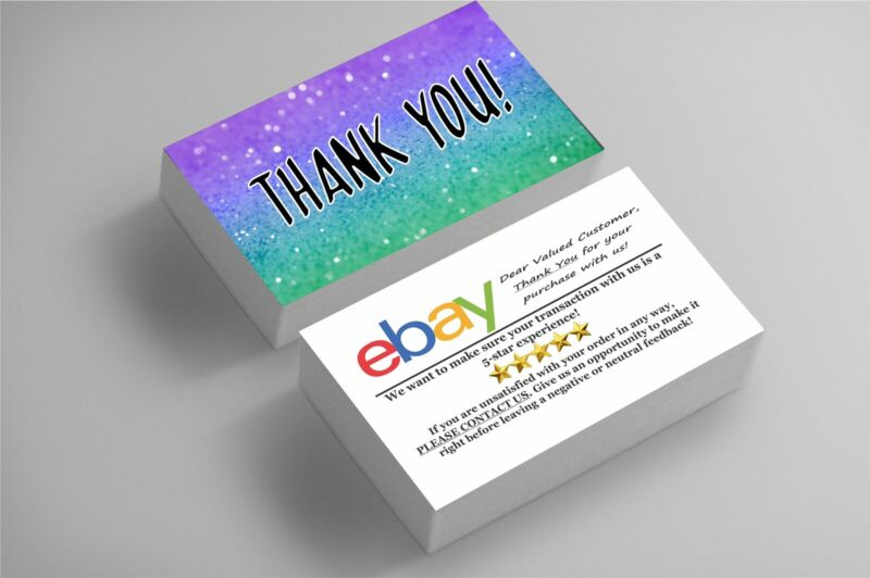 500 FULL COLOR BUSINESS CARDS | EBAY SELLERS THANK YOU | GLITZ | FREE SHIPPING