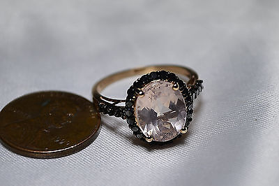 14k Rose Gold Morganite & Black Diamond Pink Ladies Ring Free Ship Sz 7