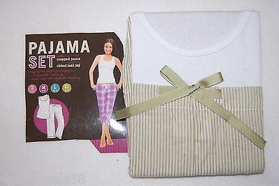 Womens Pajama Set LIGHT GREEN STRIPE Ribbed Tank Top Cropped Capri Pants L -