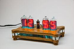 QUEEN Numitron Desk Clock IV-13 Filament Tubes with wooden case