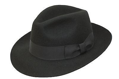 Herren Qualität handgemacht breit Krempe Fedora Wolle Filz Filzhut Hut mit ()