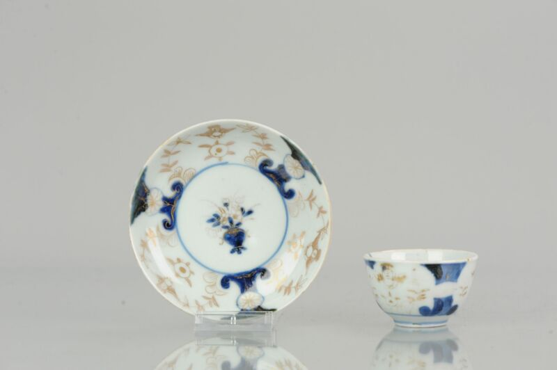 Antique 18th Century Japanese Porcelain Tea Cup & Saucer  Imari Edo Peri...