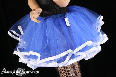 Sailor moon tutu petticoat skirt adult royal with white trim Halloween costume - Halloween Costumes With White Tutus