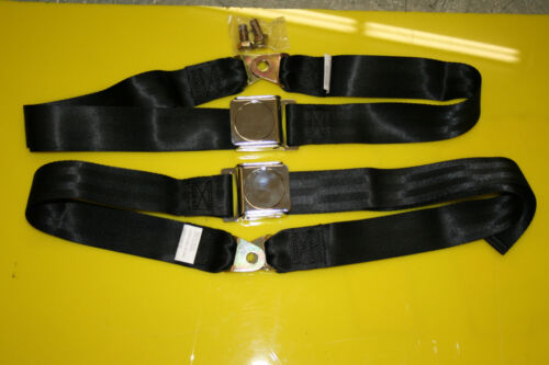 Universal Lap Belt pair with aircraft latch. Seat Belt Black and Chrome