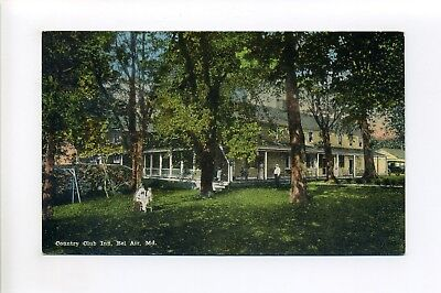 Bel Air MD Harford County antique postcard people dog old car, Country Club (Harford Air)