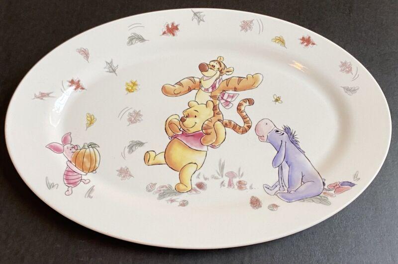 Disney Winnie the Pooh and Friends Fall Pumpkin Ceramic Oval Serving Plate NEW