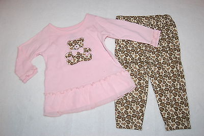 Baby Girls Outfit L/S PINK RUFFLED SHIRT Brown Leopard TEDDY BEAR Pants 6-9 MO - Teddy Bear Baby Outfit