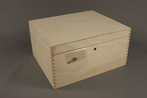 NEW-LOCKABLE-PLAIN-WOOD-WOODEN-BOX-DECOUPAGE-29-x-25-x-15-cm-P29-15z-CRAFT