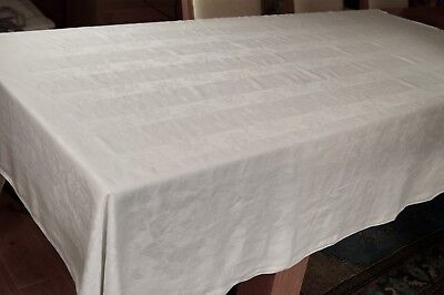 ANTIQUE/VINTAGE IRISH LINEN DAMASK TABLECLOTH Roses and Stripes 86