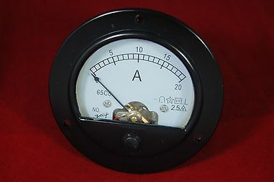 Dc 20a Round Analog Ammeter Panel Amp Current Meter Dia. 90mm Direct Connect