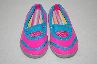 Baby Toddler Girls HOT PINK & TURQUOISE WATER SHOES Swimming Beach 5-6 7-8 9-10