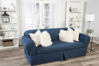 Washed Heavy Blue Denim 2 pc Sofa Slip Cover Cotton /  Loveseat / Arm Chair Denim Solid Furniture Slipcover