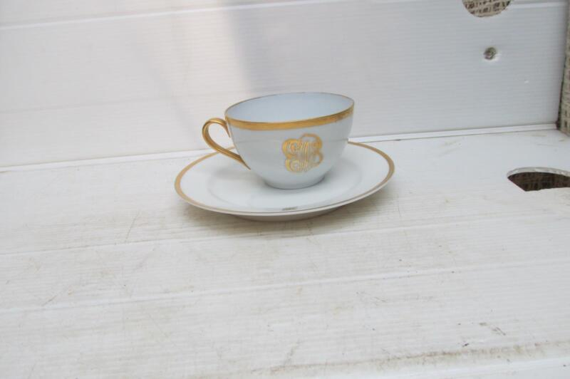 O & E G Royal Austria Cup And Haviland France Saucer Both Gold Trimmed