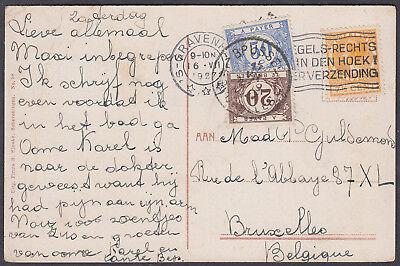 1927 Postage Due Postcard Netherlands to Belgium