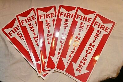 Lot Of 6 Self-adhesive Vinyl 4x12 Fire Extinguisher Arrow Signs..new