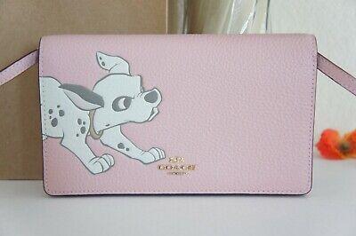 NWT Coach 91189 X Disney Dalmatian Leather Foldover Clutch Crossbody Bag Blossom