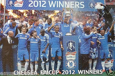 """CHELSEA FC """"FA CUP 2012 WINNERS"""" POSTER -Football Team Celebrating On The Pitch"""