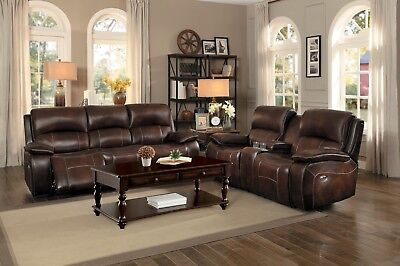 BROWN TOP GRAIN LEATHER MATCH RECLINING SOFA & LOVESEAT CONSOLE FURNITURE
