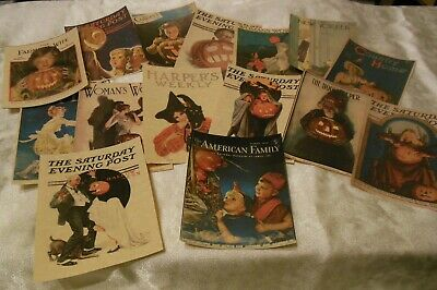 Set of 16 LARGE Vintage Halloween Magazine Cover Images 1900's to 1940's