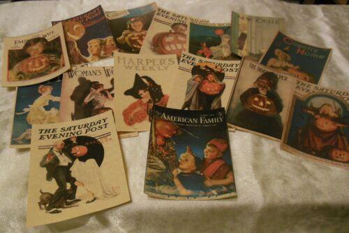 Set of 16 LARGE Vintage Halloween Magazine Cover Images 1900
