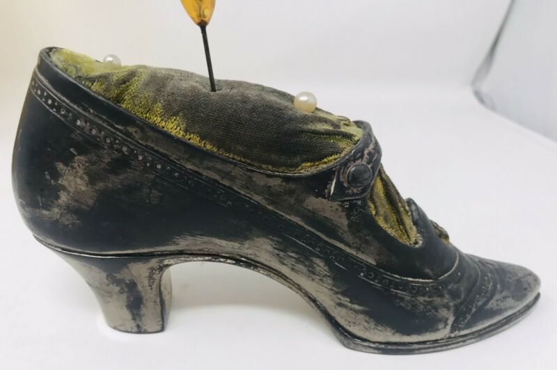 Antique Pewter Metal Victorian Ladies Shoe Pin Cushion