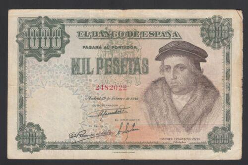 Spain 1000 Pesetas 19-02-1946  Fine  P. 133,   Banknote, Circulated