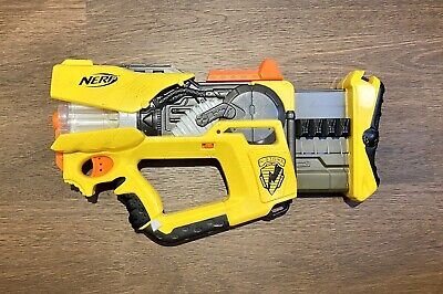 Nerf N-Strike Firefly Rev-8 Gun Blaster Yellow Gray 8 Dart Barrel 2005 Tested