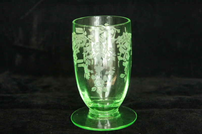CAMBRIDGE GLASS APPLE BLOSSOM ETCH LT GREEN # 3135 2-1/2 OZ TUMBLER SHOT WHISKEY