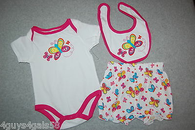 - Baby Girls Outfit 3 PC SET Jumper Bib Bloomer Shorts WHITE PINK Butterfly 6-9 MO