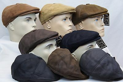 Leather Newsboy Hat (100% SHEEPSKIN SHEARLING LEATHER Driving Newsboy Hat Golf Gatsby Cabbie 8)
