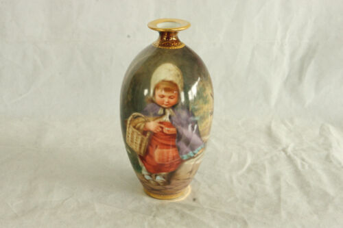 ROYAL VIENNA STYLE CHILD COUNTING COINS PORTRAIT MAROON VASE 100% HAND PAINTED