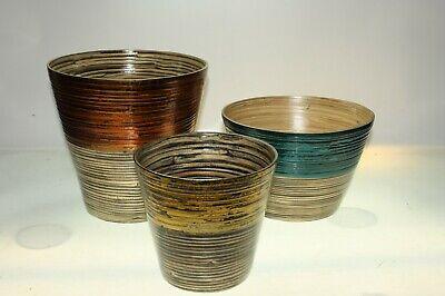 3 Large Uneque IVYLINE Handmade Bamboo Pots Planters - Set of 3 - 24,17 & 16cm