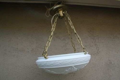 Vtg Embossed Shade Hanging Bowl Ceiling 4 Light Fixture Milk Glass Chandelier