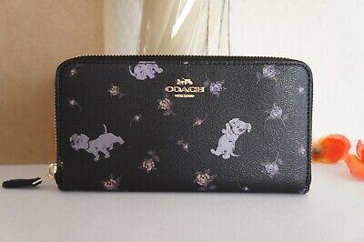 NWT Coach 91743 X Disney Accordion zip Wallet Dalmatian Pups Floral Black $278