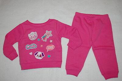 Baby Girls PINK SWEATSHIRT & SWEAT PANTS Cat Dog Smile Shooting Star 6-9 MO