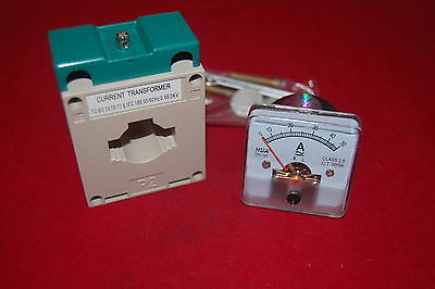 1pc Ac 0-50a Analog Ammeter Panel Amp Current Meter 5050mm With Transformer