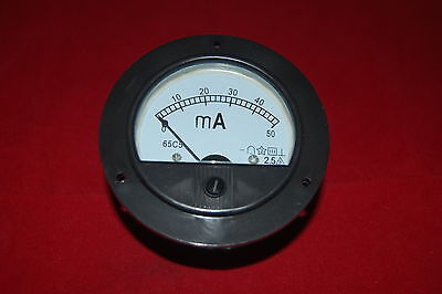Dc 0-50ma Round Analog Ammeter Panel Amp Current Meter Dia. 90mm Direct Connect