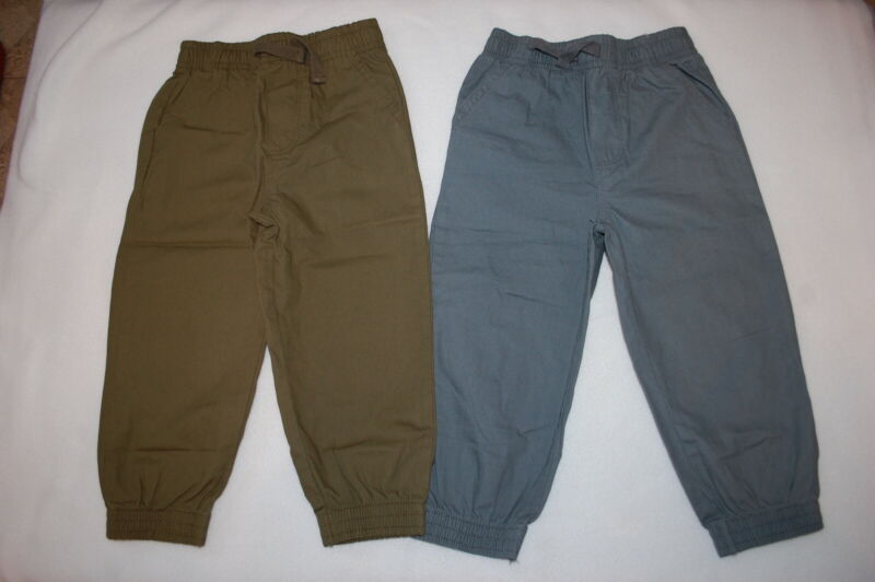 Toddler Boys 2 LOT PANTS Woven Joggers ARMY GREEN & SLATE GRAY Pockets 2T