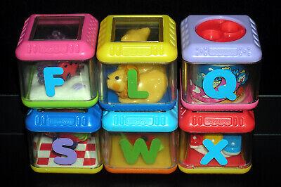 Fisher Price Peek A Boo Blocks Alphabet ABC Replacement Lot of 6 - F L Q S W X
