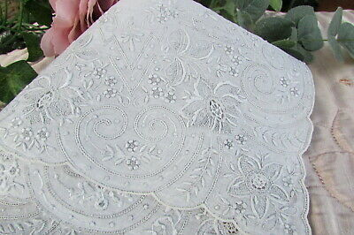 Antique Vintage Appenzell Embroidered Handkerchief Hankie Wedding Bridal R73