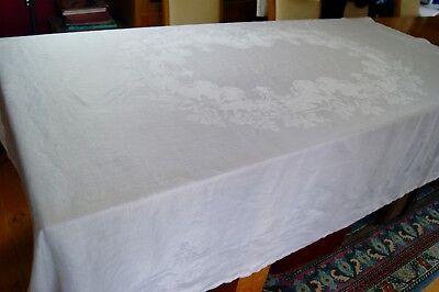 ANTIQUE WHITE IRISH LINEN DAMASK TABLECLOTH Roses 84