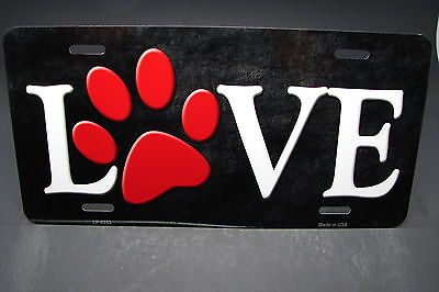 ANIMAL LOVE METAL ALUMINUM CAR LICENSE PLATE TAG DOGS CATS PAWS