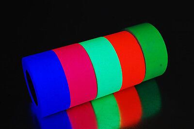 1 Inch UV Blacklight Reactive Fluorescen​t Gaffer Tape 1 Roll x 6 Yards (Blacklight Reactive)
