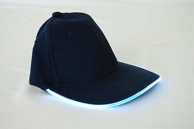 Navy Fabric White LED Lighted Glow Hat - Led Lighted Hats