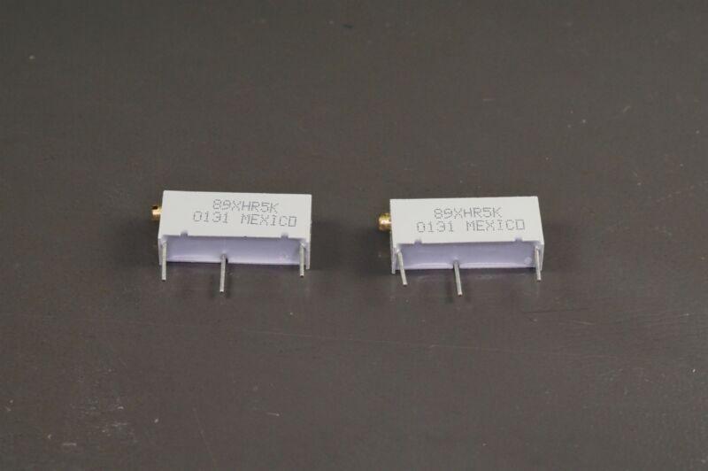 Lot of 2 89XHR5K BI Tech Trimmer Resistor 5k Ohm 10% 3/4W 20 Turns Through Hole