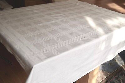 VINTAGE WHITE COTTON DAMASK TABLECLOTH Checks / Stripes CC41 Utility Mark #T60