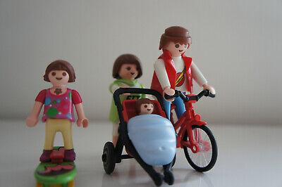Playmobil Famille en balade. Vélo, poussette et bébé, enfants et skateboard