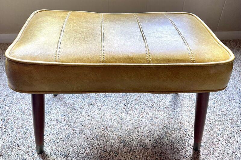 Vintage MCM Gold Vinyl Footstool Ottoman Tapered Legs