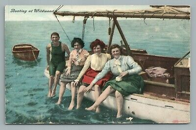 Boating Girls WILDWOOD New Jersey Shore—Antique Sailing Sailboat Postcard 1907